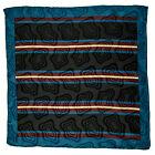 "SANTOSTEFANO Handmade Teal 15"" Stripe Silk Pocket Square Handkerchief NWT 150"