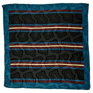 "SANTOSTEFANO Handmade Teal 15"" Stripe Silk Pocket Square Handkerchief NWT $150"