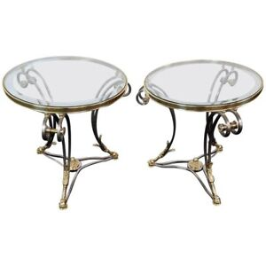 Pair Louis XV Style Brass & Steel Jansen Style Glass Top Gueridons End Tables