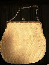 Beaed Purse clasp bag- Vintage cream colored beads with gold tone clasp-chain