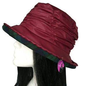 Wax Rain Hat Waxed Cotton Cloche Brim Tartan Lining Waterproof Ladies Country