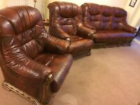 Brown Leather 3 Piece Suite