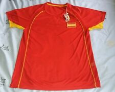 """NEW. RED T-SHIRT, FOOTBALL TOP WITH YELLOW ESPAÑA LOGO. SIZE LARGE.  CHEST 45"""""""
