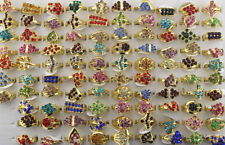Wholesale Lots 50pcs Multicolor Rhinestone Gold Plated Women's Noble Charm rings