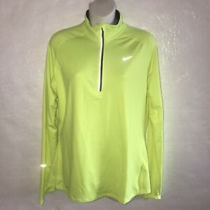 Nike Dri Fit Womens Half Zip Pullover Shirt Neon Yellow Large Flaw A5