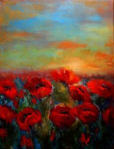 ACEO ATC Signed Print Red Poppy Poppies Landscape Art Card Artist Trading Card