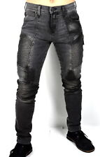 True Religion Men's Rocco SKINNY Moto Jeans Size 40 X 32 Mid Rise Black