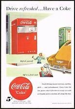 1940s Original Vintage Coca Cola Vending Machine Gas Station Art Print Ad