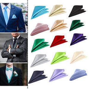 Plain Pocket Square Wedding Mens Satin Solid Handkerchief Hanky Jacket Suit Boys