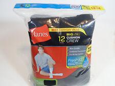 12 PAIR BIG TALL HANES Cushion Crew Socks Mens Shoe Size 12-14 Black Long