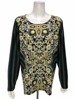 Bob Mackie's Women's Paisley and Stripe Print Knit Top Black Multi X-Large Size