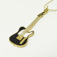 FENDER TELECASTER Electric Guitar Necklace - 24K Gold Plate Black/White - NWT