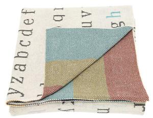 Creative Co-Op DA8974-1 Multicolor Cotton Knit Alphabet Blanket