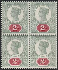 1887 JUBILEE SG200 2d VERY DEEP CARMINE & GREEN UNMOUNTED MINT BLOCK OF 4