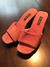 """Pink Suede """"cha cha"""" Shoes With Hand Carved Wood Heels/soles. Size 7.5-ish"""