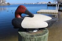 Vintage Red Head Drake Duck Hand Carved Wood Decoy Glass Eyes