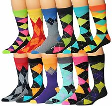 James Fiallo Mens 12-Pairs Funky Colorful Crew Dress Socks Argyle Funk,mens sock