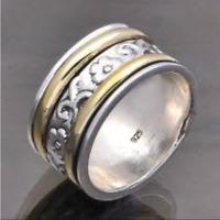 Solid 925 Sterling Silver Spinner Ring Meditation Ring Statement Ring Size sr237