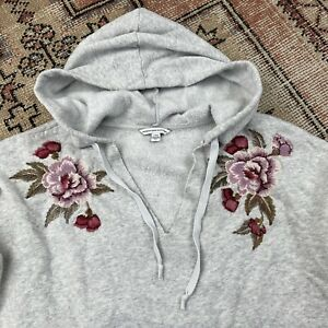 American Eagle Hoodie Sweatshirt Embroidered Flowers Size Large