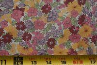 By 1/2 Yd, Vintage, Colorful Floral on Cream Quilt Cotton, RJR/Bonnie Leman P164