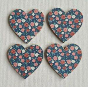 Handmade Set of 4 Wooden Heart Fridge Magnets Shabby Chic Blue/Pink Roses Print