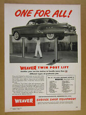 1953 Weaver EC-100 Twin Post Car Lift service station mechanic vintage print Ad