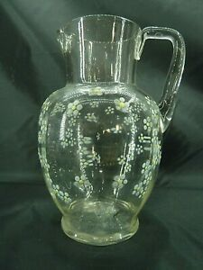 Pretty Victorian Glass Jug Enamelled Forget-Me-Nots