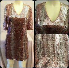 $180 Donna Morgan Copper Multi Sequin Print Shift Cocktail Dress ~ 10  M3020