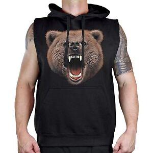 Men's Biting Bear Black Sleeveless Vest Hoodie Workout Fitness Wild Animal Teeth