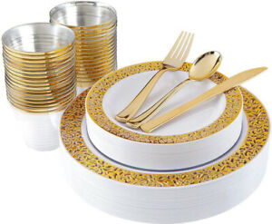 180pcs Party Plastic Gold Lace Plates,Silverware,Cup Disposable,Wedding Birthday