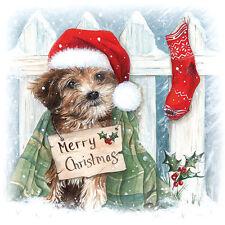 20 Tovaglioli, tovaglioli tecnica Christmas Puppy Cucciolo di Cane atmosfera 33 x 33