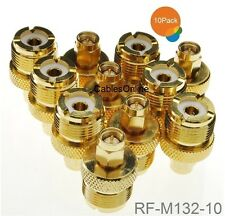 10-Pack SMA Male Plug to UHF SO-239 Female Jack Gold-Plated Adapter, RF-M132G-10