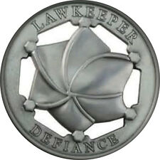 """1 BUTTON 3"""" LAWKEEPER DEFIANCE BADGE HALLOWEEN COSTUME PROP SAFETY PIN BACK"""