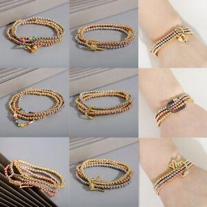 Fashion Keychain 4mm Copper Bead Men Women Bracelet Combination Jewelry Gift