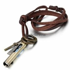 Mens Womens Bronze Cross Whistle Pendant Necklace Adjustable Brown Leather Cord