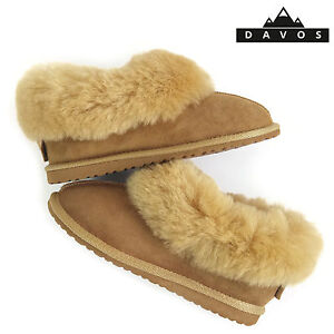 Womens Luxury Handmade 100% Golden Real Sheepskin Suede Fur Slippers EVA Sole LV