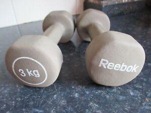 2 x 3kg REEBOK DUMBELLS