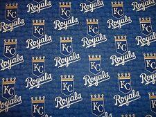 "KANSAS CITY ROYALS MLB 100% COTTON 1 YARD PIECE NEW COLORS DESIGN ""GO ROYALS"""