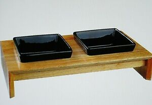 ' Trixie ' Ceramic and Wood Feeding Bowl Set for Dogs and Cats