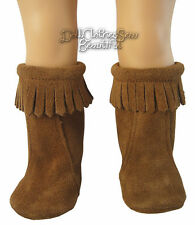 Brown Suede Moccasin Hippy Boots for American Girl Doll Clothes Sew Beautiful
