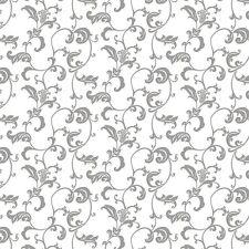 Baumwollstoff 100 Meterware 0 5lfm 1 6m breit Ranken Floral Ornament weiß