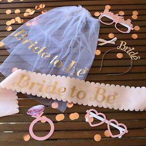 Bride to Be Sash Rose Gold, Team Bride, Bridesmaid, Hen Party Bride Veil & Tiara