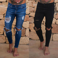 Mens Skinny Jeans Ripped Stretch Slim Fit Denim Biker Distressed Pants Trousers