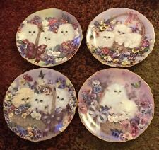 4 Decorative Cat Plates by Lily Chang Garden Gifts Series from Bradford Exchange