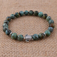 """8mm Natural African Turquoise & Tibetan Silver Turtle Round Beads Bracelet 7.8"""""""