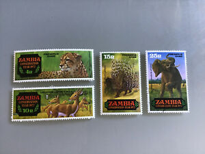 Zambia 1972, Conservation Year sg168/71 MNH ELEPHANT USED FRANKED.