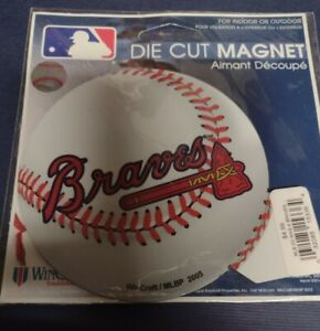 """NEW/old  Wincraft Atlanta Braves 4"""" Baseball Die Cut Magnet For Indoor/Outdoor"""