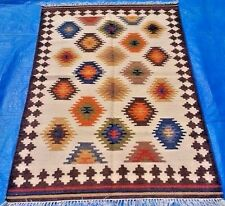 EMBROIDERED PERSIAN KILIM RECTANGLE WOOL RED KELIM AREA RUGS 4X6ft