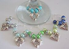 SET OF 6 WINE GLASS RINGS CHARMS SILVER PLATE DOLPHINS & SPARKLING RHINESTONES