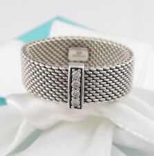 Tiffany & Co Silver Somerset Mesh Diamond Ring Band Size 5.5 MSRP
